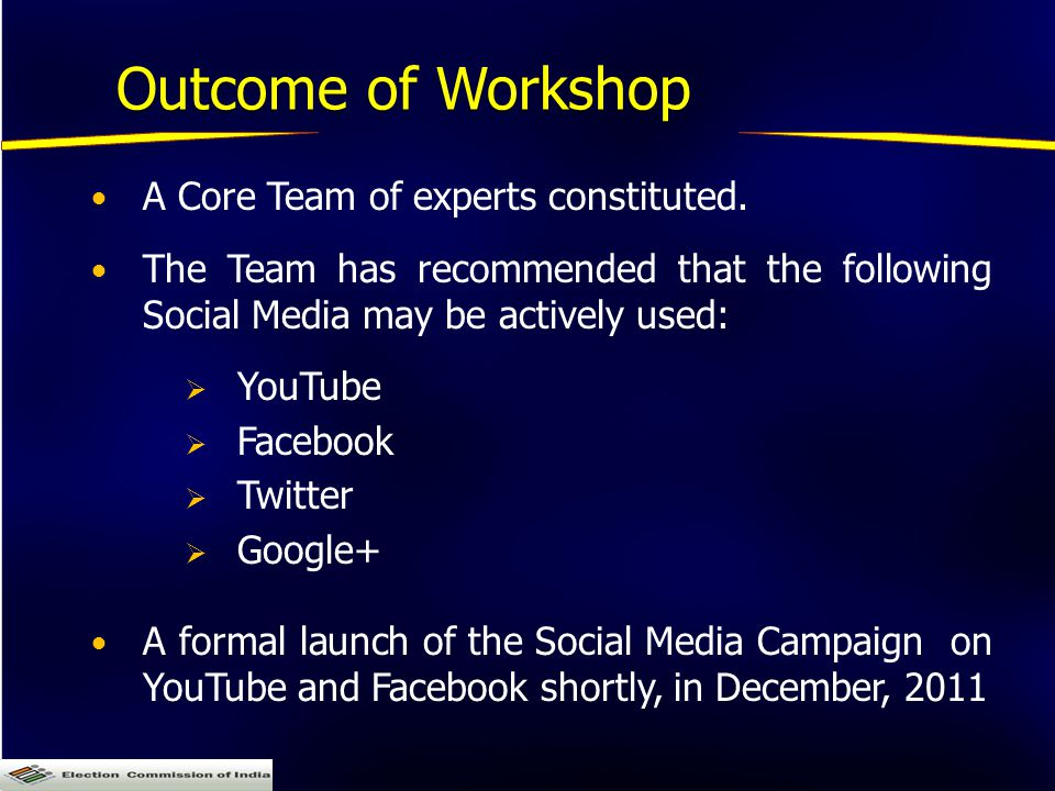 Outcome of Workshop A Core Team of experts constituted.