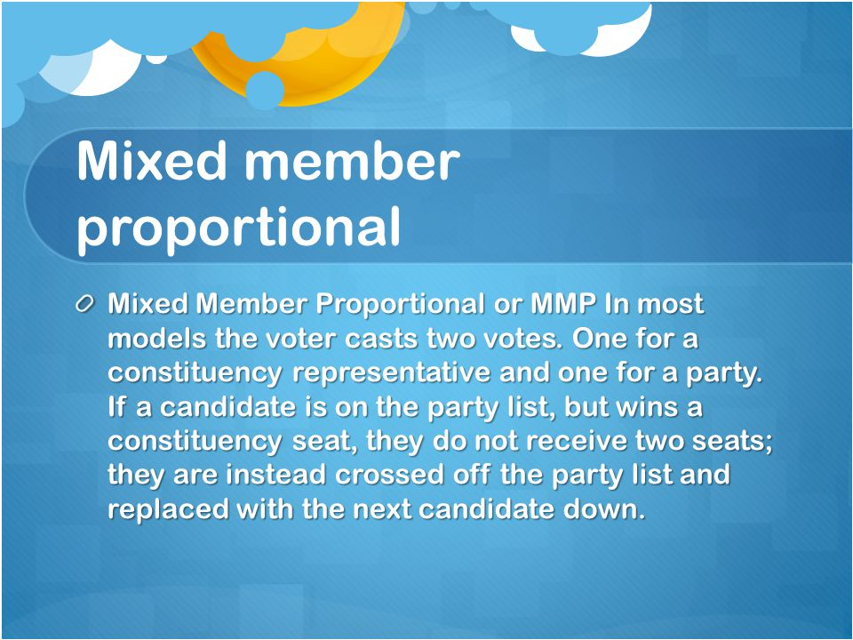Mixed member proportional Mixed Member Proportional or MMP In most models the voter casts two votes.