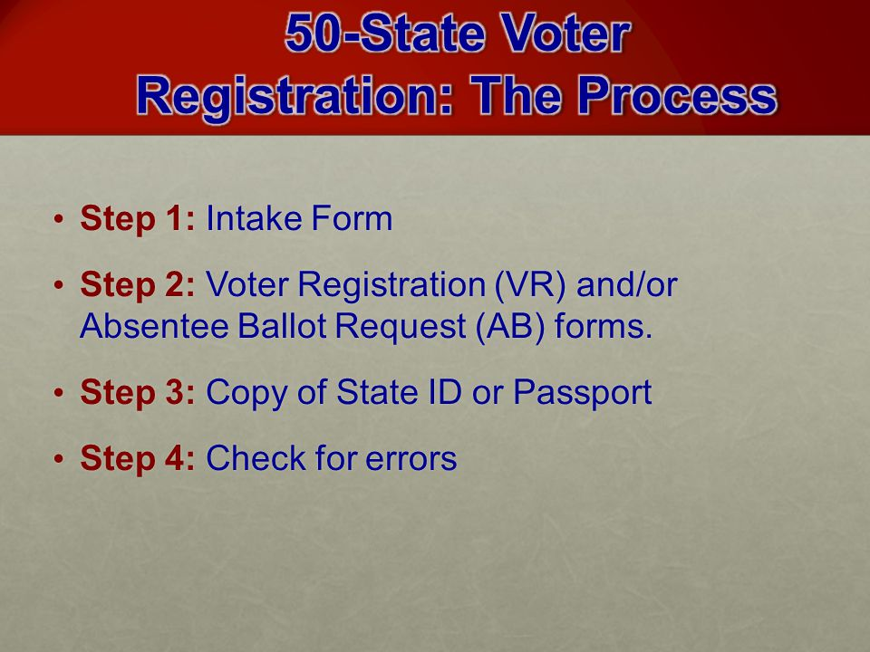 Step 1: Intake Form Step 1: Intake Form Step 2: Voter Registration (VR) and/or Absentee Ballot Request (AB) forms.