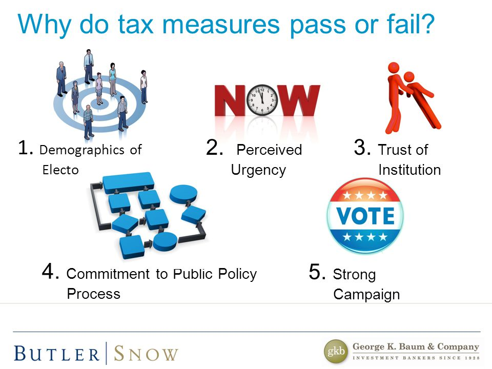 Why do tax measures pass or fail. 5. Strong Campaign 4.