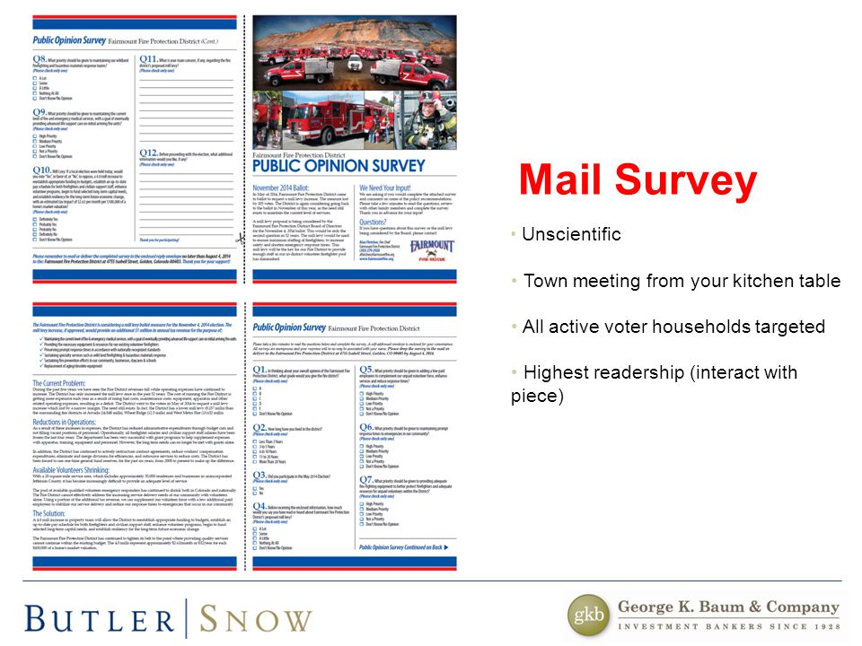 Unscientific Town meeting from your kitchen table All active voter households targeted Highest readership (interact with piece) Mail Survey