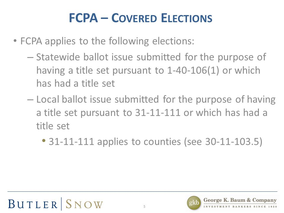 16 FCPA – H OW TO A NALYZE A S ITUATION Essential elements of a case involving ballot measures: – Is it a political subdivision.