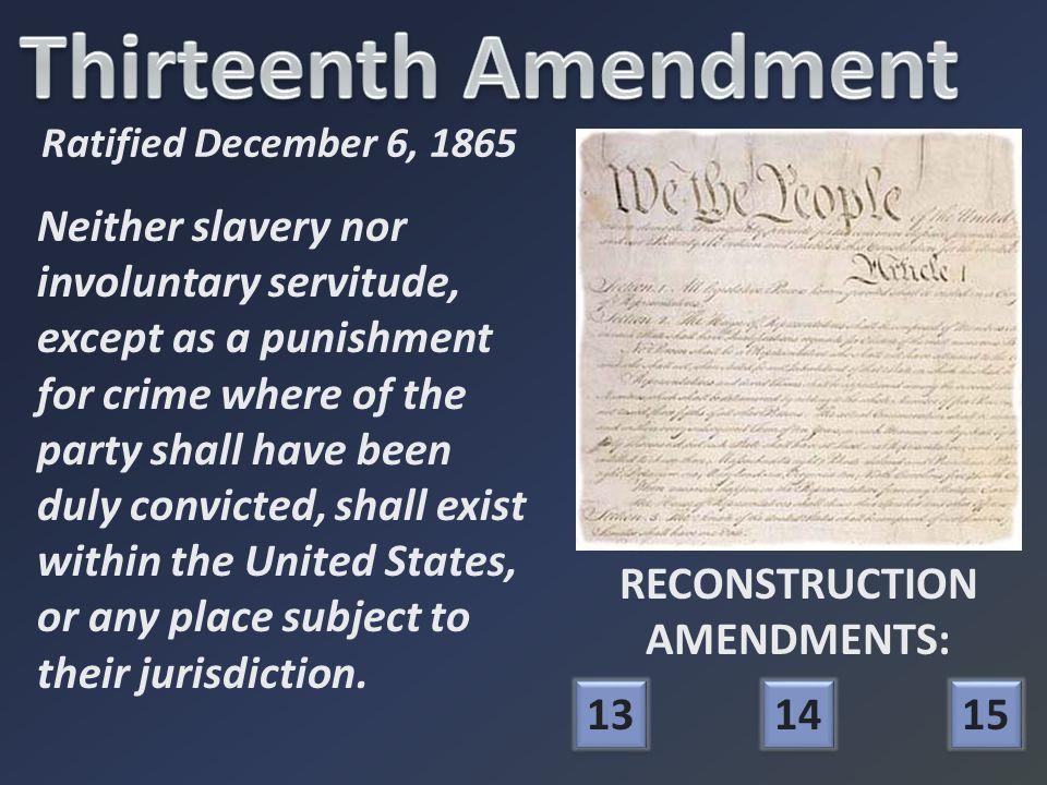 Thirteenth Amendment Freedmen's Bureau Sharecropping Black Codes FRANCHISE And Not This Man? FRANCHISE And Not This Man?