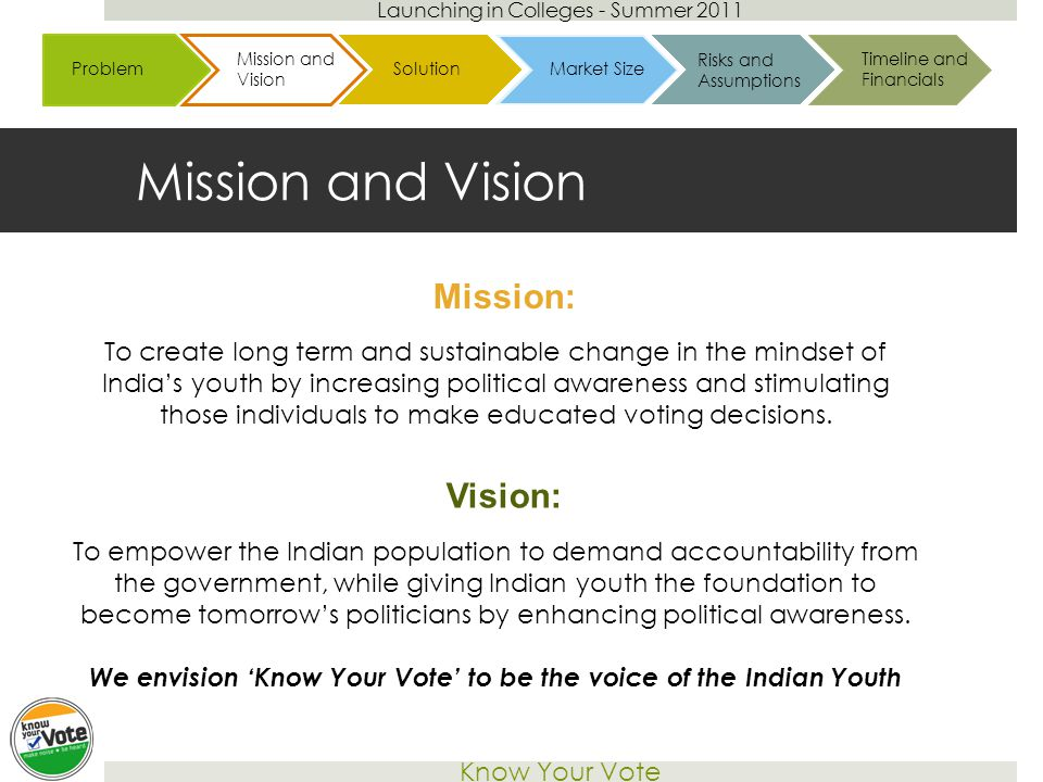 Launching in Colleges - Summer 2011 Know Your Vote Mission and Vision To create long term and sustainable change in the mindset of India's youth by increasing political awareness and stimulating those individuals to make educated voting decisions.