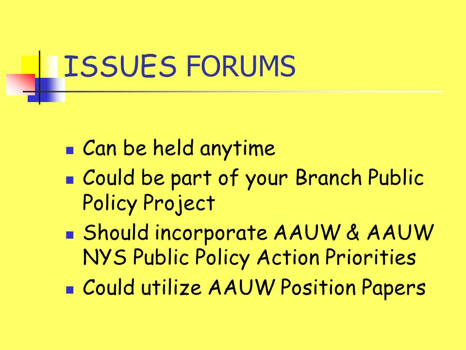 ISSUES FORUMS Can be held anytime Could be part of your Branch Public Policy Project Should incorporate AAUW & AAUW NYS Public Policy Action Prioritie
