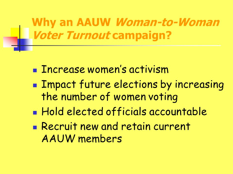 Why an AAUW Woman-to-Woman Voter Turnout campaign.