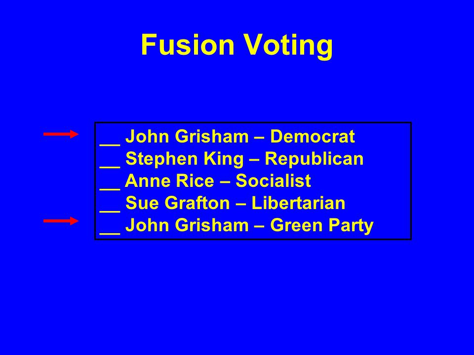 Fusion Voting __ John Grisham – Democrat __ Stephen King – Republican __ Anne Rice – Socialist __ Sue Grafton – Libertarian __ John Grisham – Green Pa