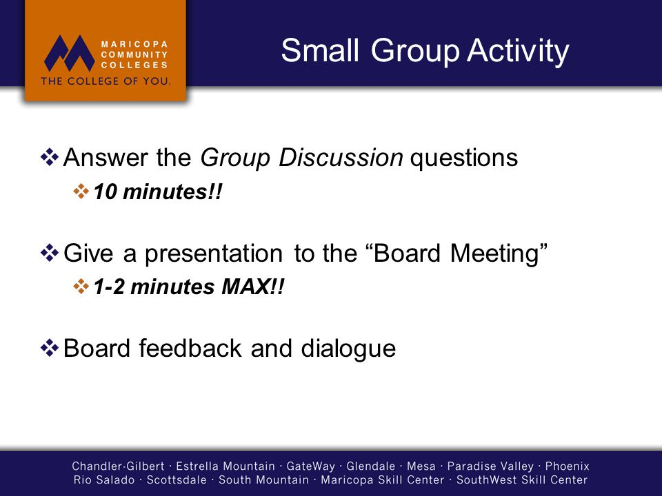 Small Group Activity  Answer the Group Discussion questions  10 minutes!.