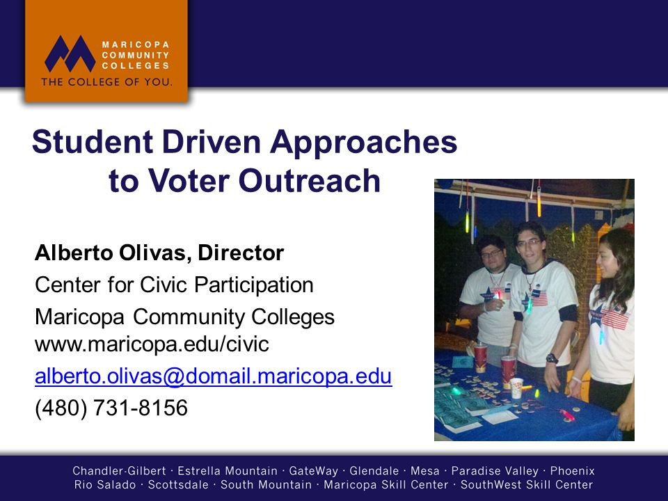 Student Driven Approaches to Voter Outreach Alberto Olivas, Director Center for Civic Participation Maricopa Community Colleges www.maricopa.edu/civic alberto.olivas@domail.maricopa.edu (480) 731-8156