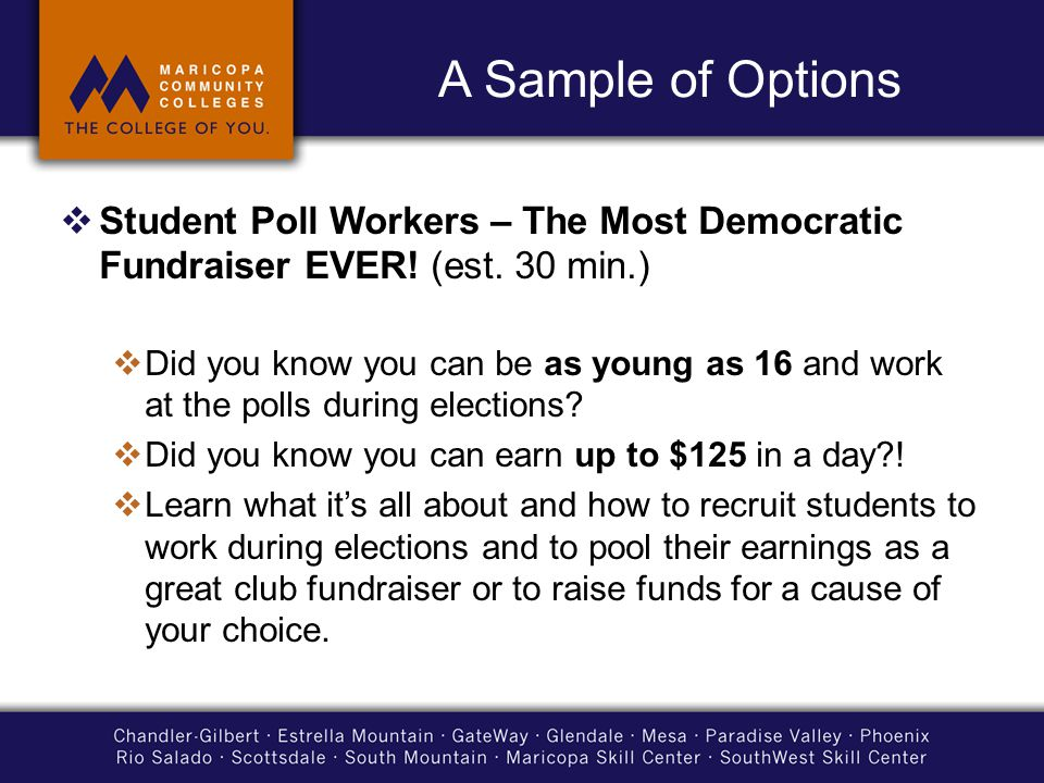 A Sample of Options  Student Poll Workers – The Most Democratic Fundraiser EVER.