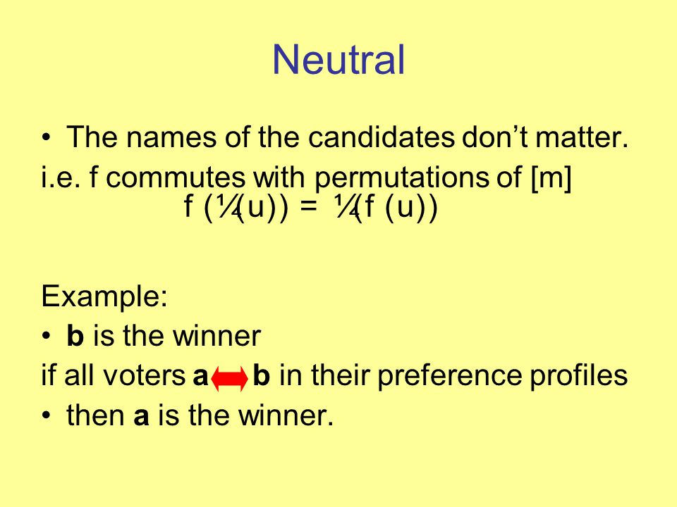 Neutral The names of the candidates don't matter. i.e.
