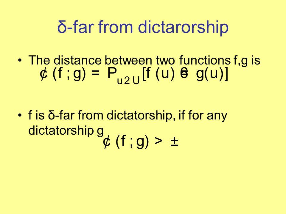 δ-far from dictarorship The distance between two functions f,g is f is δ-far from dictatorship, if for any dictatorship g ¢ ( f ; g ) = P u 2 U [ f ( u ) 6 = g ( u )] ¢ ( f ; g ) > ±