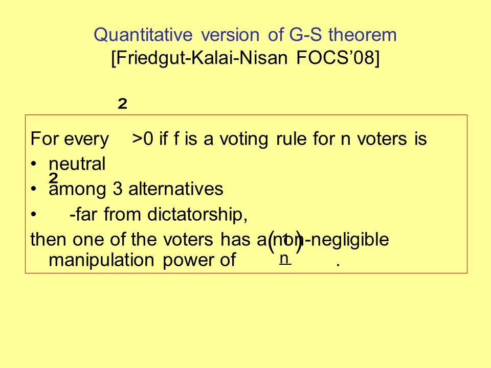 Quantitative version of G-S theorem [Friedgut-Kalai-Nisan FOCS'08] For every >0 if f is a voting rule for n voters is neutral among 3 alternatives -fa