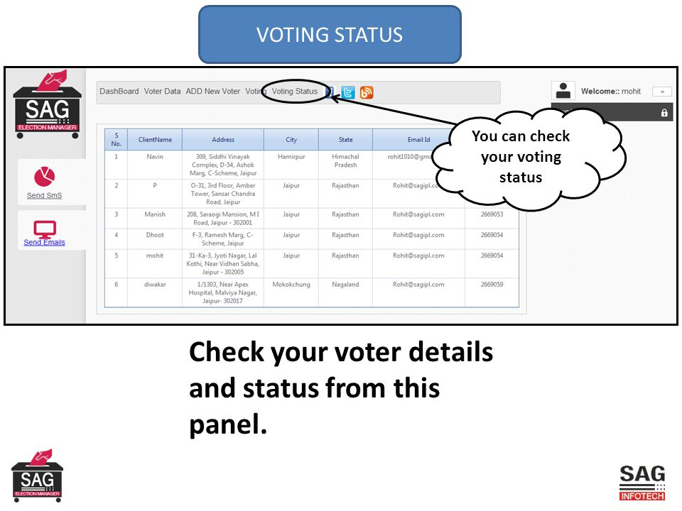 VOTING STATUS You can check your voting status Check your voter details and status from this panel.