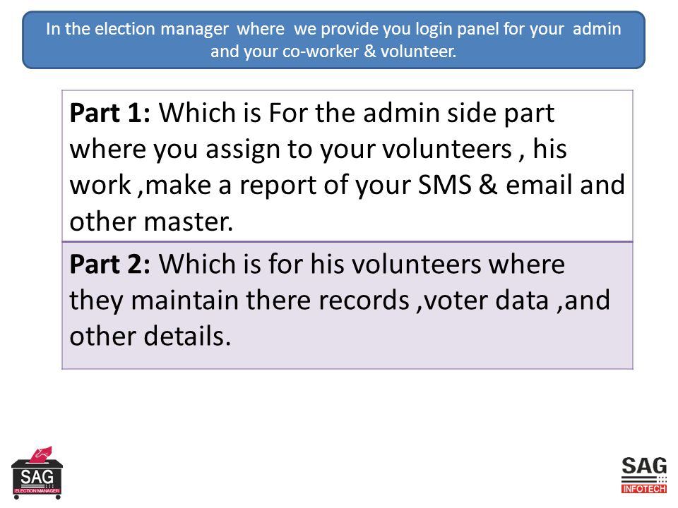 In the election manager where we provide you login panel for your admin and your co-worker & volunteer.