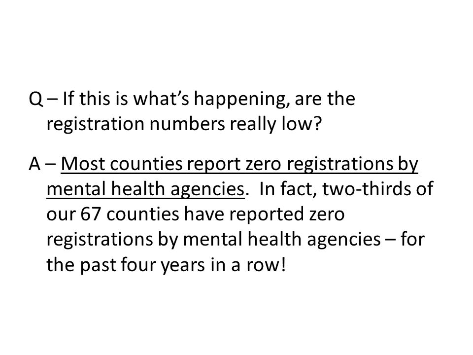 Q – If this is what's happening, are the registration numbers really low.