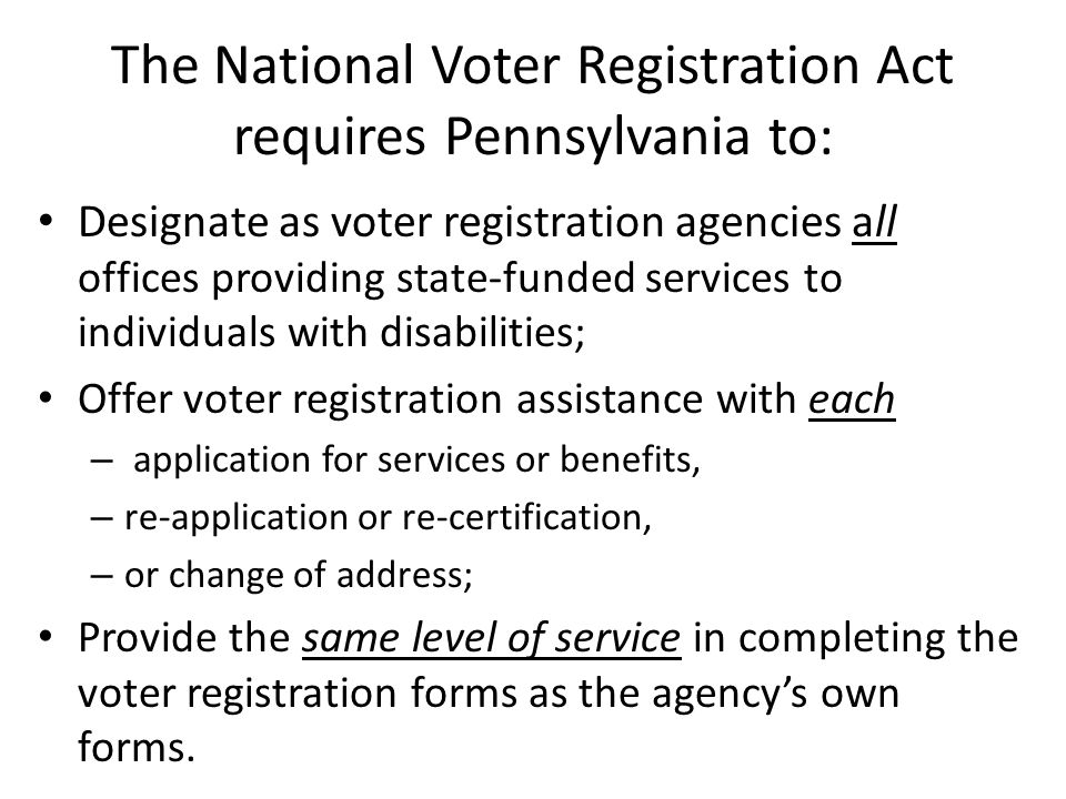 Who else.Q – Is it only people on SSI who are being denied voter registration services.