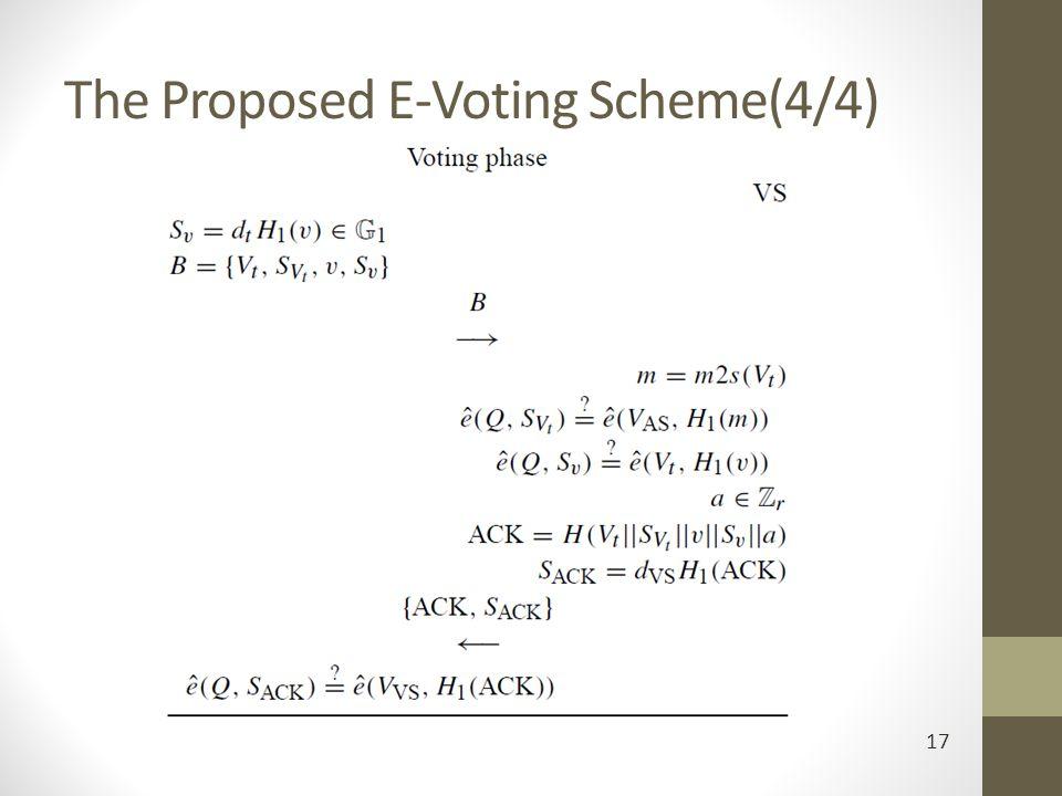 The Proposed E-Voting Scheme(4/4) 17