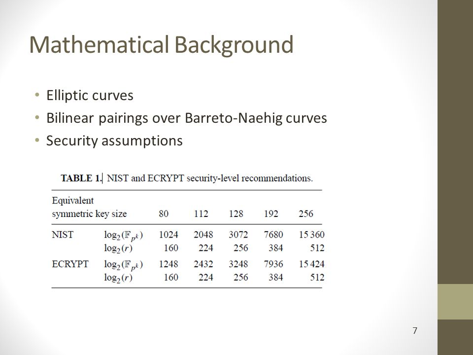 Mathematical Background Elliptic curves Bilinear pairings over Barreto-Naehig curves Security assumptions 7