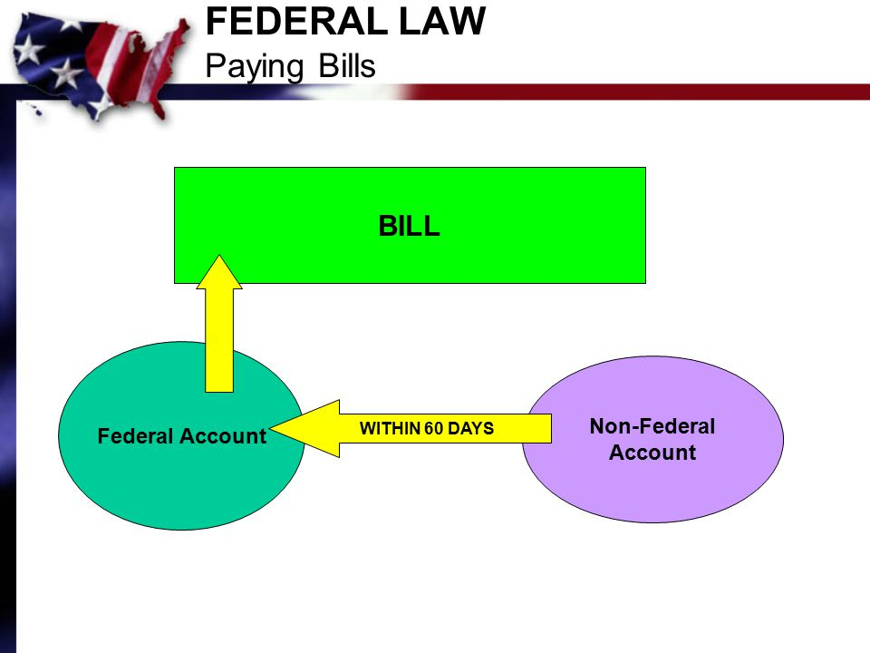 FEDERAL LAW Paying Bills BILL Federal Account Non-Federal Account WITHIN 60 DAYS