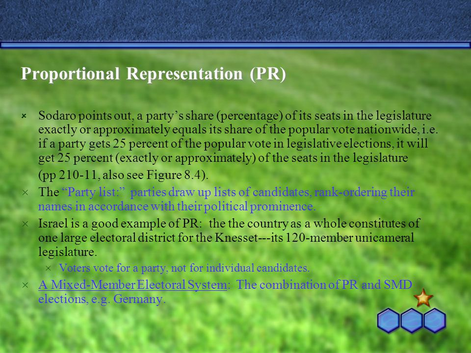 Proportional Representation (PR)  Sodaro points out, a party's share (percentage) of its seats in the legislature exactly or approximately equals its