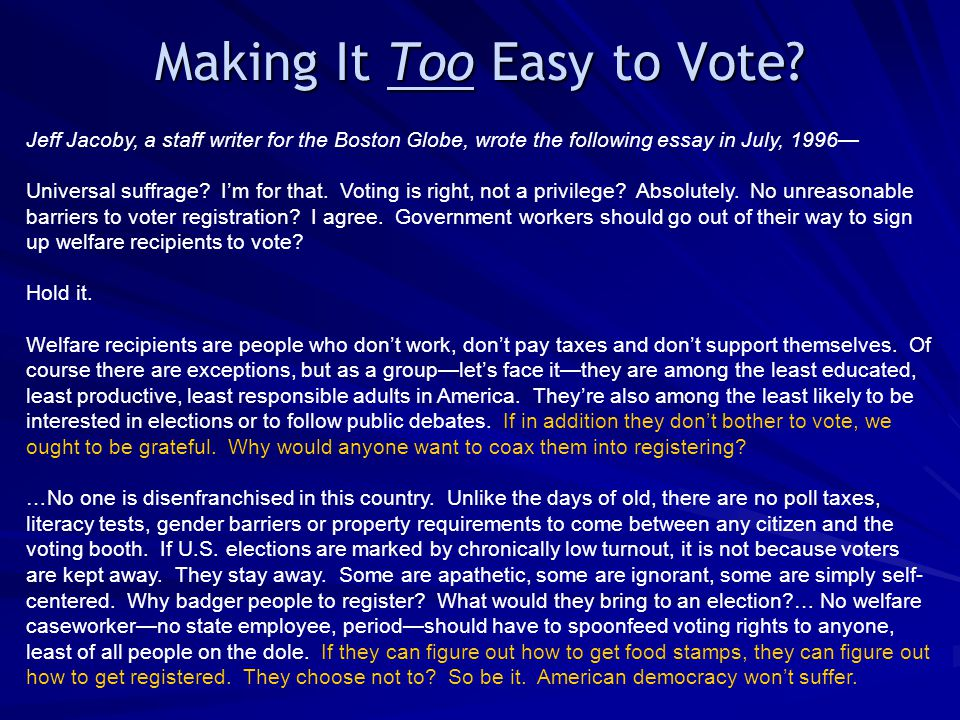 Making It Too Easy to Vote? Jeff Jacoby, a staff writer for the Boston Globe, wrote the following essay in July, 1996— Universal suffrage? I'm for tha