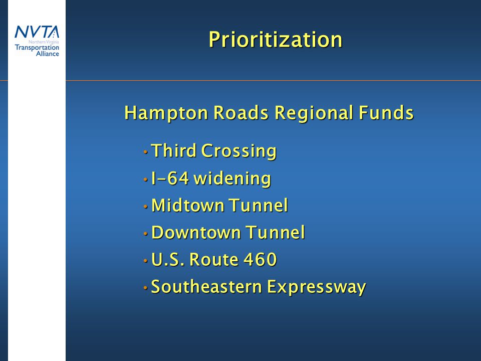 Prioritization Hampton Roads Regional Funds Third CrossingThird Crossing I-64 wideningI-64 widening Midtown TunnelMidtown Tunnel Downtown TunnelDowntown Tunnel U.S.