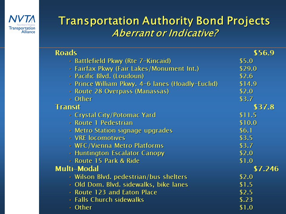 Transportation Authority Bond Projects Aberrant or Indicative.
