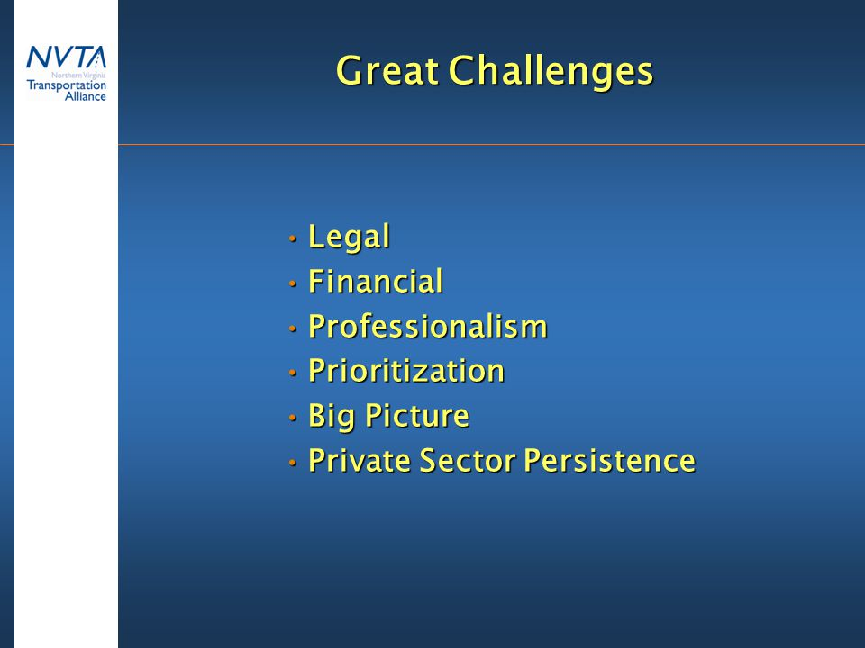 Great Challenges LegalLegal FinancialFinancial ProfessionalismProfessionalism PrioritizationPrioritization Big PictureBig Picture Private Sector PersistencePrivate Sector Persistence