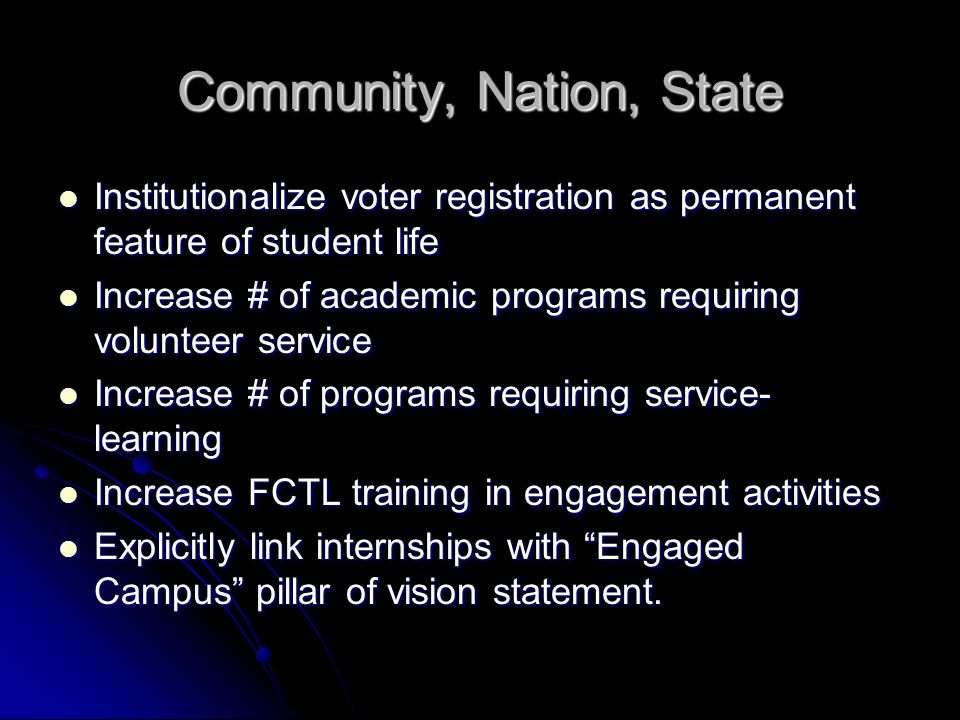 Community, Nation, State Institutionalize voter registration as permanent feature of student life Institutionalize voter registration as permanent fea