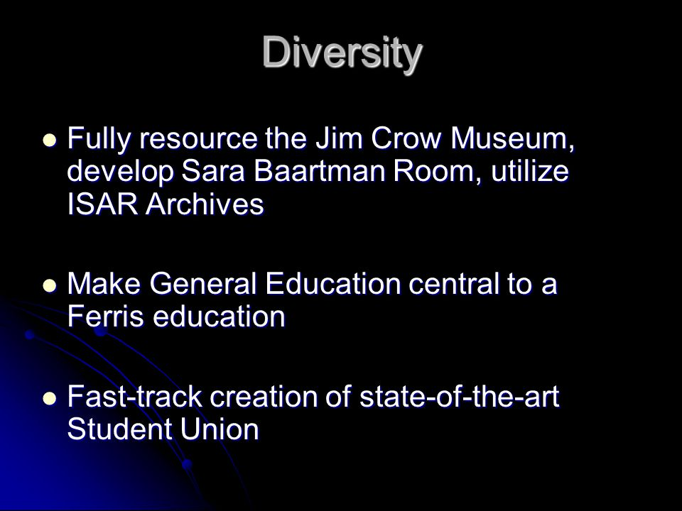 Diversity Fully resource the Jim Crow Museum, develop Sara Baartman Room, utilize ISAR Archives Fully resource the Jim Crow Museum, develop Sara Baart