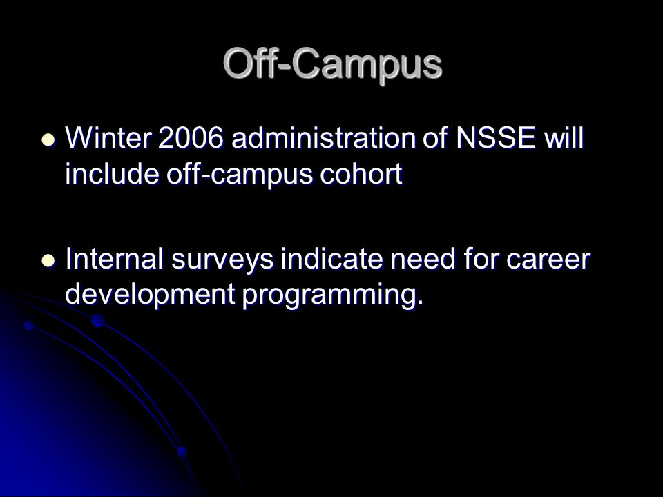 Off-Campus Winter 2006 administration of NSSE will include off-campus cohort Winter 2006 administration of NSSE will include off-campus cohort Interna