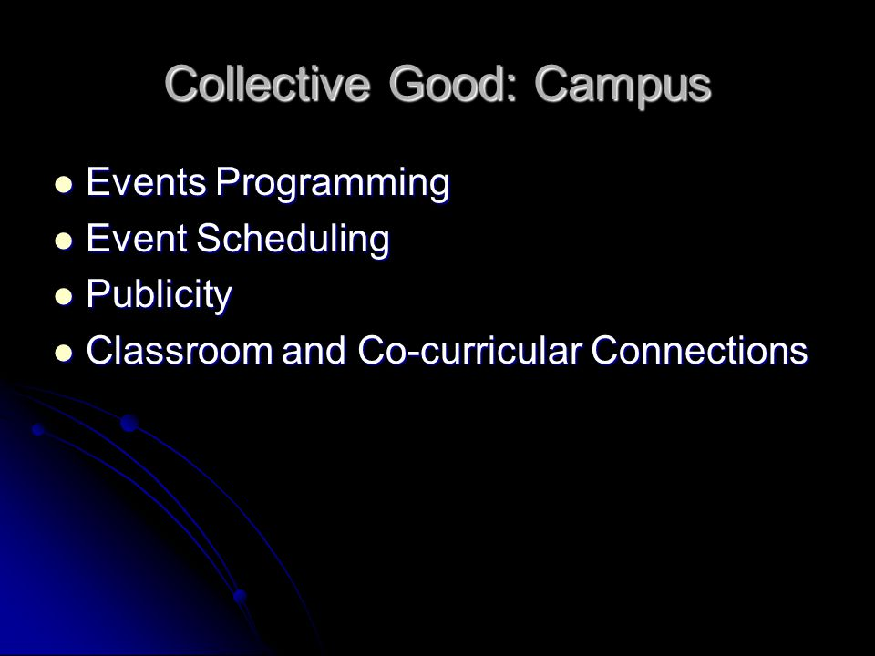 Collective Good: Campus Events Programming Events Programming Event Scheduling Event Scheduling Publicity Publicity Classroom and Co-curricular Connec