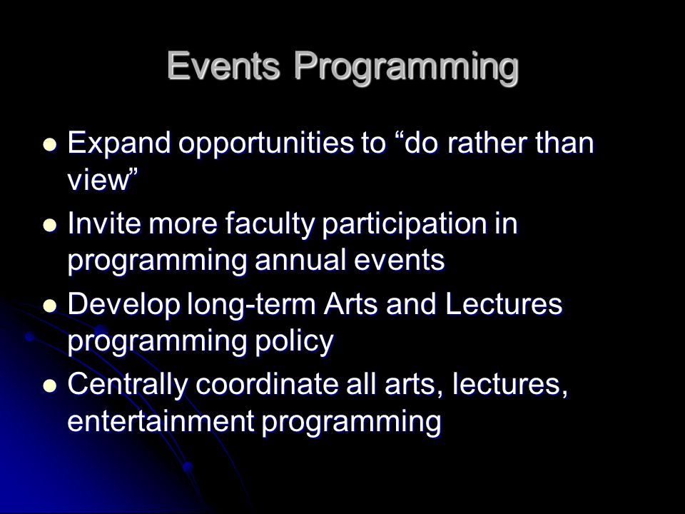 "Events Programming Expand opportunities to ""do rather than view"" Expand opportunities to ""do rather than view"" Invite more faculty participation in pr"