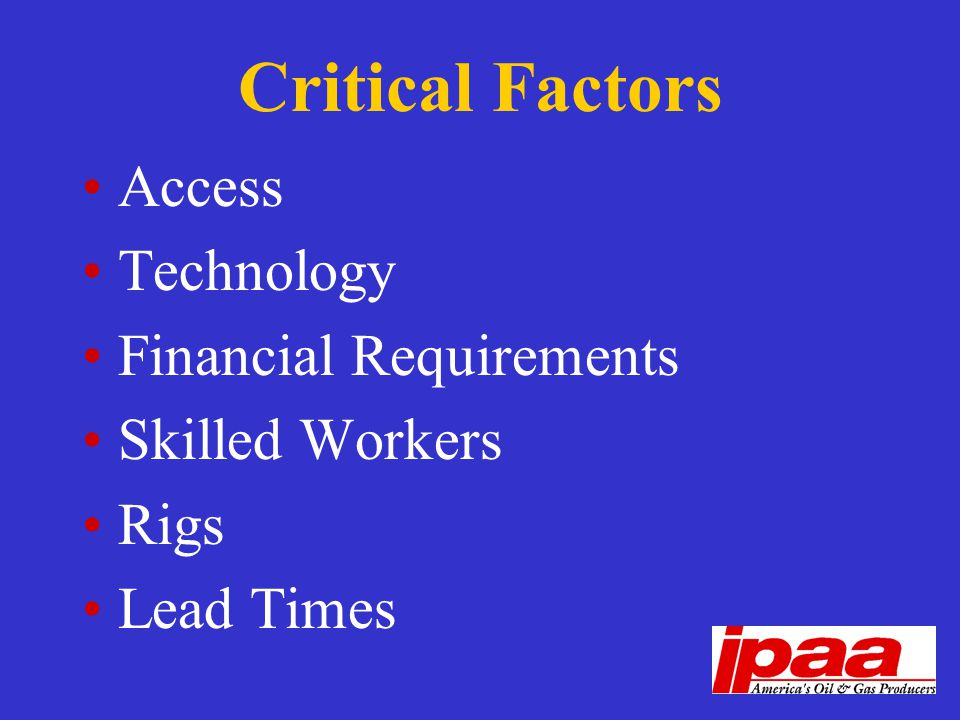 Critical Factors Access Technology Financial Requirements Skilled Workers Rigs Lead Times
