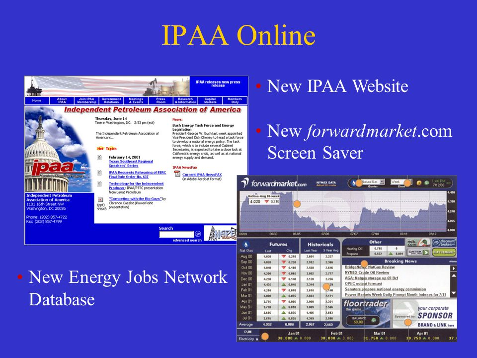 IPAA Online New IPAA Website New forwardmarket.com Screen Saver New Energy Jobs Network Database