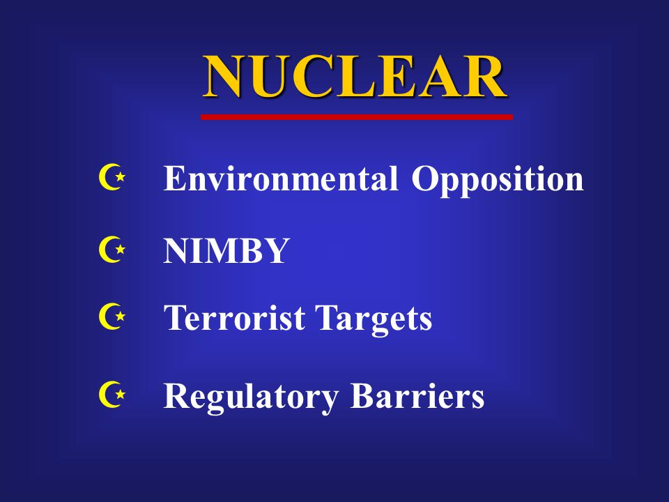 NUCLEAR  NIMBY  Terrorist Targets  Regulatory Barriers  Environmental Opposition
