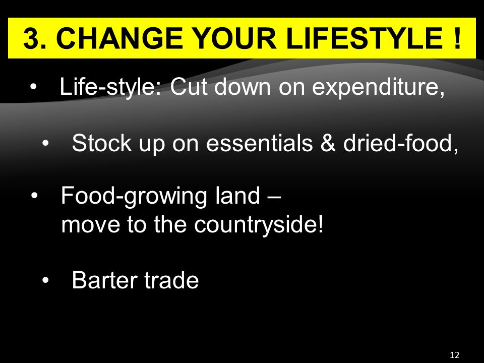 12 3. CHANGE YOUR LIFESTYLE ! Stock up on essentials & dried-food, Food-growing land – move to the countryside! Life-style: Cut down on expenditure, B