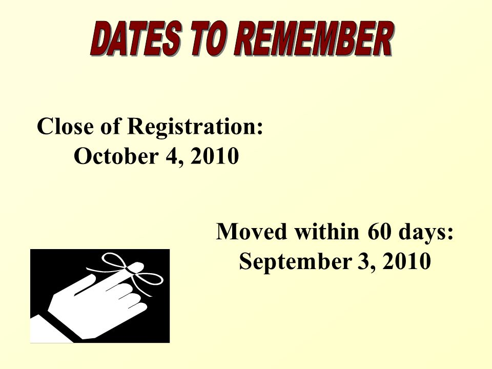 Close of Registration: October 4, 2010 Moved within 60 days: September 3, 2010