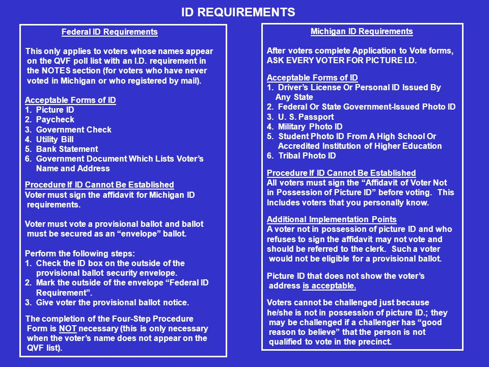 Federal ID Requirements This only applies to voters whose names appear on the QVF poll list with an I.D.
