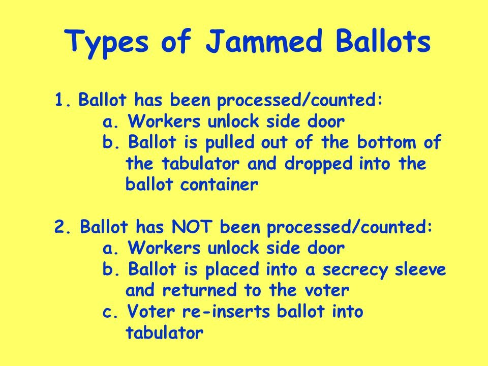 Types of Jammed Ballots 1.Ballot has been processed/counted: a.