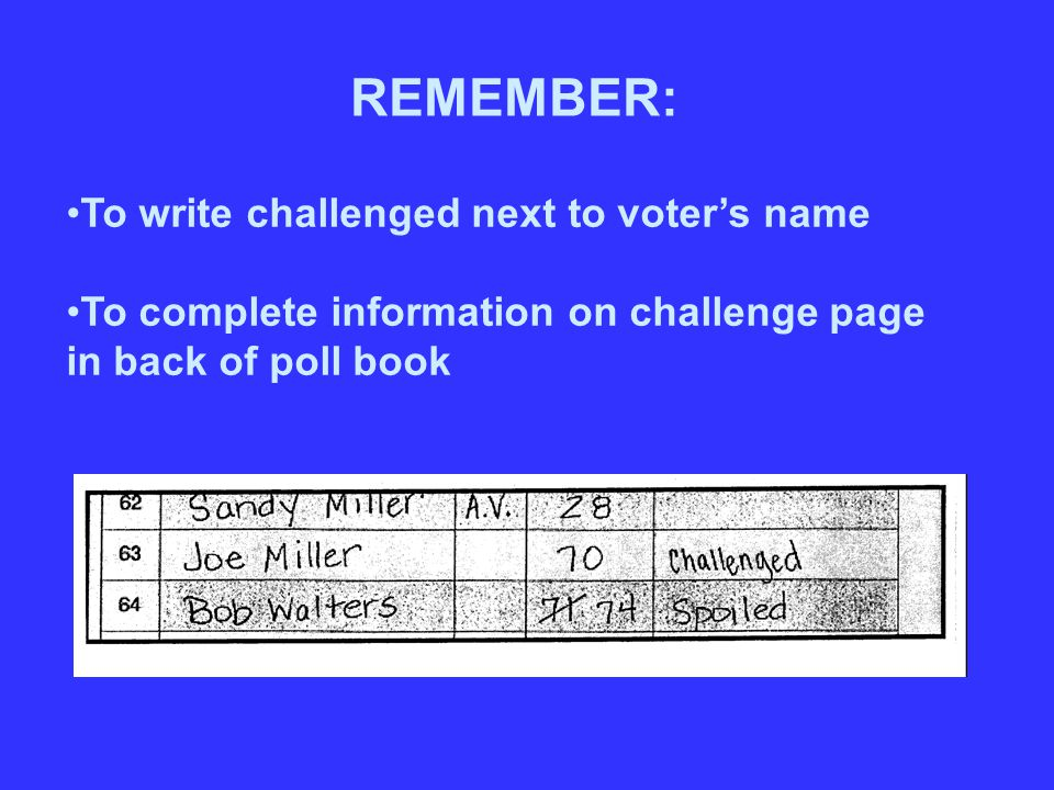 To write challenged next to voter's name To complete information on challenge page in back of poll book REMEMBER: