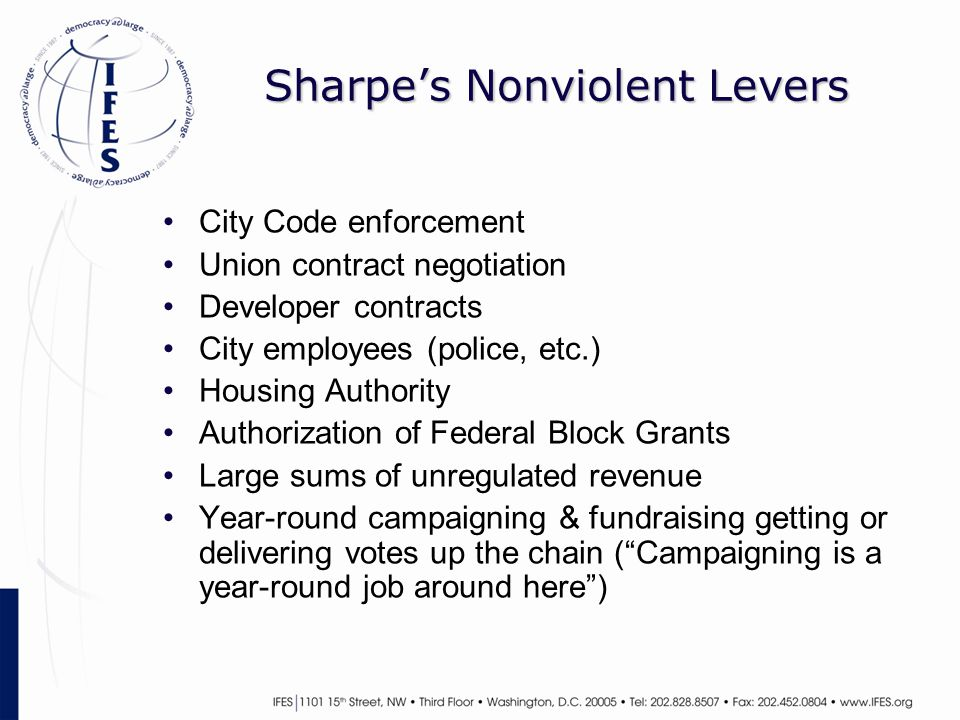 Sharpe's Nonviolent Levers City Code enforcement Union contract negotiation Developer contracts City employees (police, etc.) Housing Authority Author