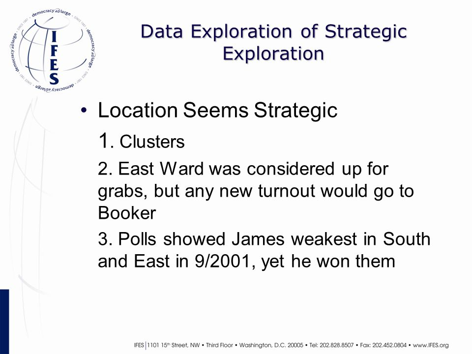 Data Exploration of Strategic Exploration Location Seems Strategic 1. Clusters 2. East Ward was considered up for grabs, but any new turnout would go