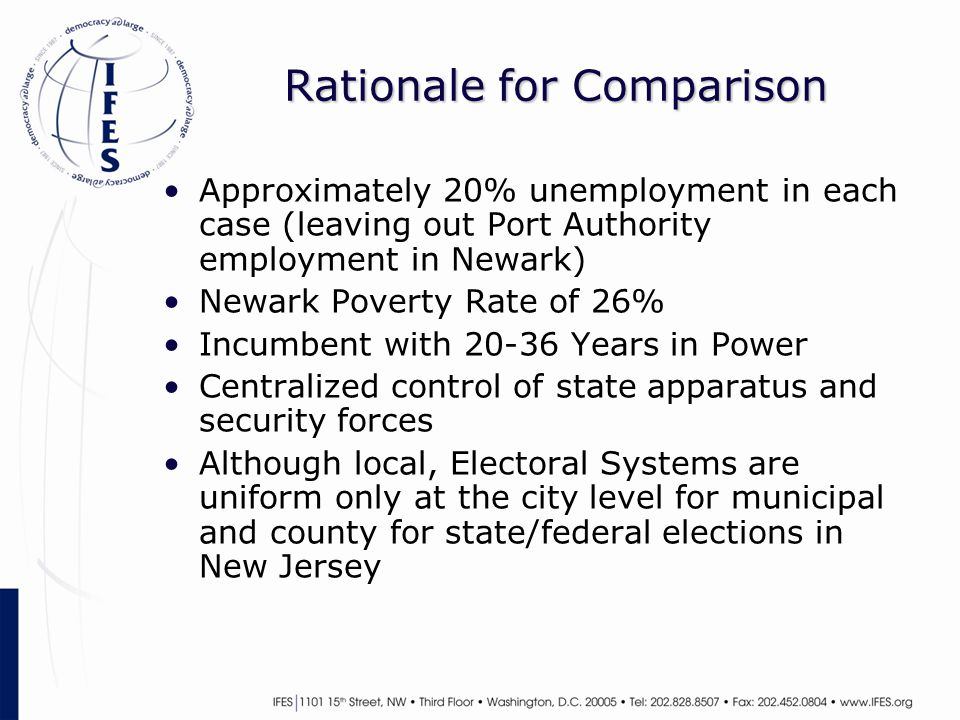 Rationale for Comparison Approximately 20% unemployment in each case (leaving out Port Authority employment in Newark) Newark Poverty Rate of 26% Incumbent with 20-36 Years in Power Centralized control of state apparatus and security forces Although local, Electoral Systems are uniform only at the city level for municipal and county for state/federal elections in New Jersey
