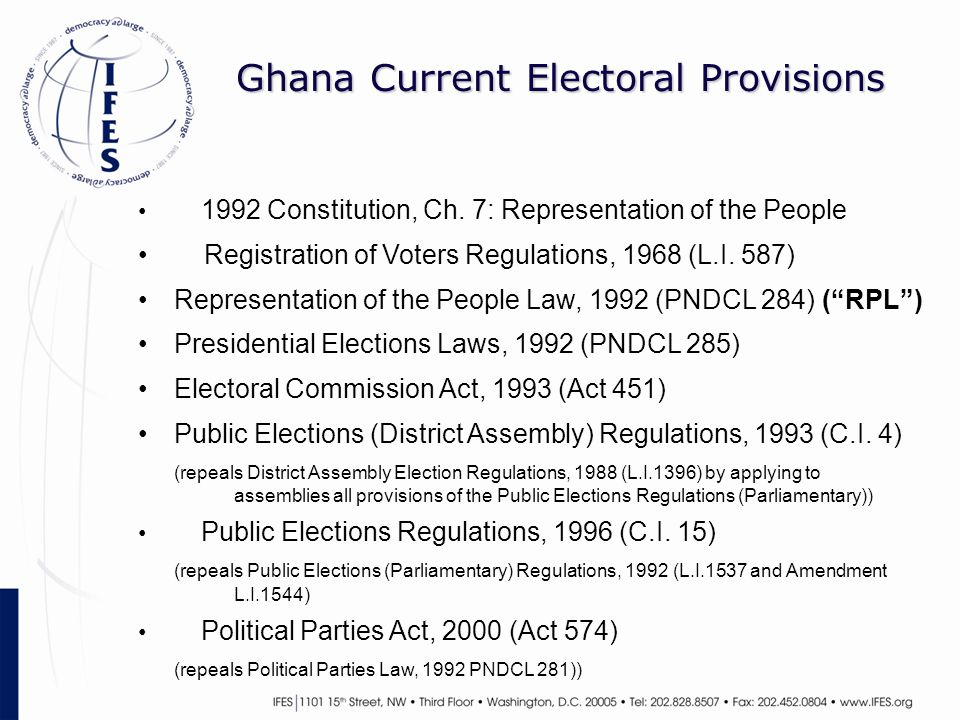 Ghana Current Electoral Provisions 1992 Constitution, Ch.