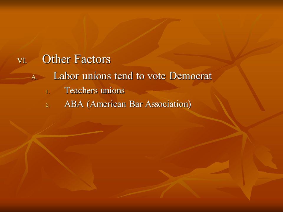 VI.Other Factors A. Labor unions tend to vote Democrat 1.