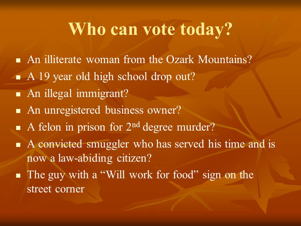 Who can vote today. An illiterate woman from the Ozark Mountains.