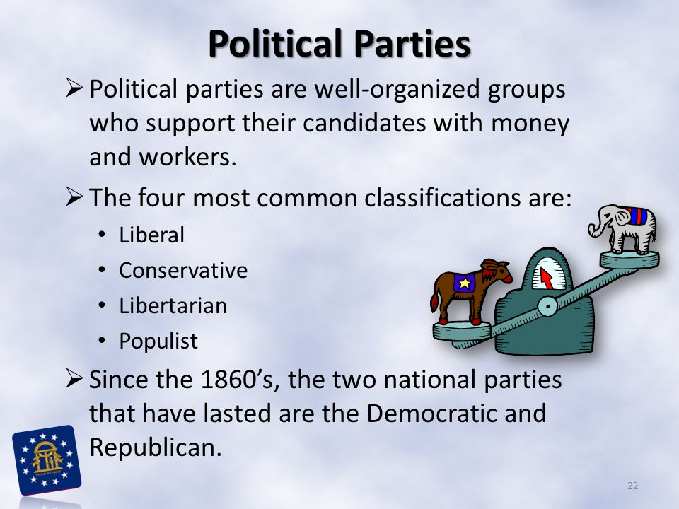 Political Parties  Political parties are well-organized groups who support their candidates with money and workers.  The four most common classifica