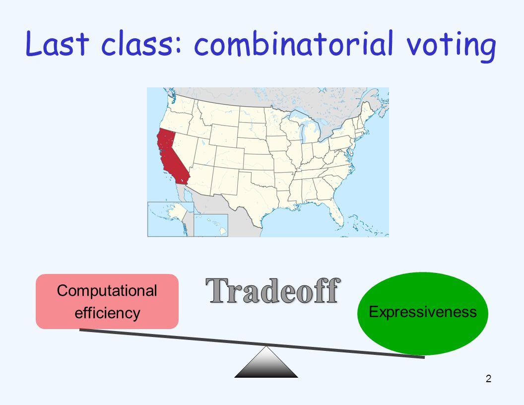 2 Last class: combinatorial voting Computational efficiency Expressiveness